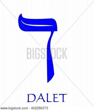 Hebrew Alphabet - Letter Dalet, Gematria Door Symbol, Numeric Value 4, Blue Font Decorated With Whit