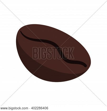 Coffee Bean Roast Grain Isolated On White Background. Roasted Brown Fresh Coffee Bean - Arabica Or R