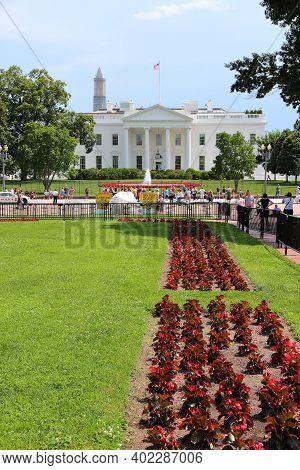 Washington, Usa - June 13, 2013: People Visit White House In Washington. 18.9 Million Tourists Visit