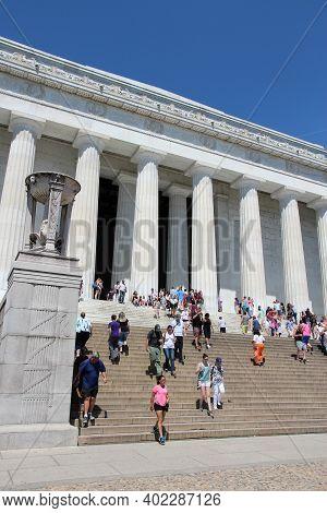 Washington, Usa - June 15, 2013: People Visit Abraham Lincoln Memorial In Washington. 18.9 Million T