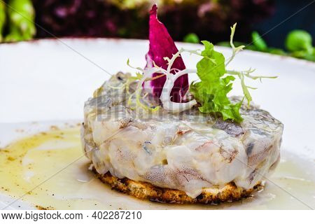 Sea Bass Tartare With Toasted Bread On A White Plate