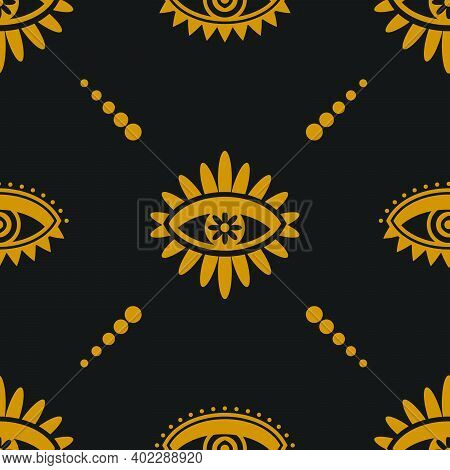 Golden Mystical Eye Gypsy Inspired Repeat Pattern. Vector Seamless Pattern Design For Textile, Fashi