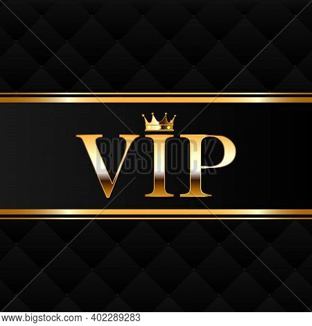 Gold Vector Vip Icon And Crown With Gems. Vector Illustration On Black Background.