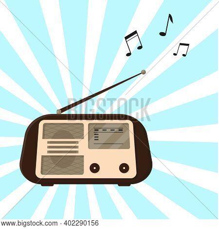 Vintage Radio. Old Or Retro Radio And Three Musical Notes. Vector Illustration.