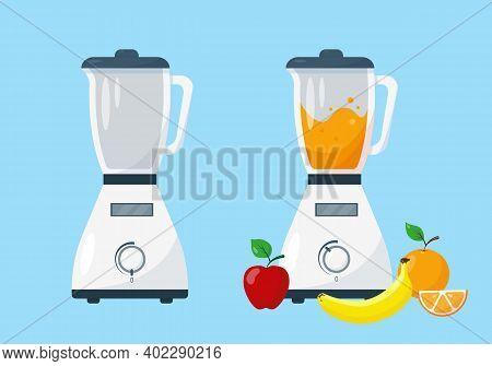 Blender And Working Blender With Fruit. Vector Illustration On Blue Background.