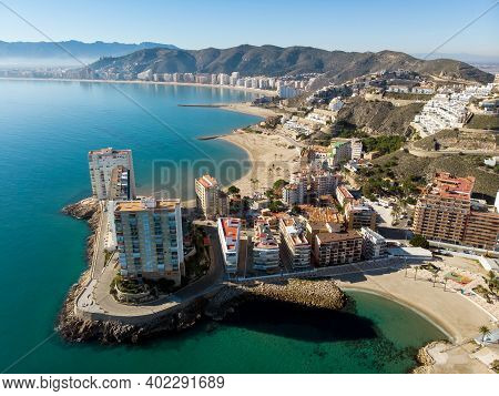 Aerial Drone Point Of View Cullera Townscape During Sunny Winter Day. Touristic Famous Place. Provin