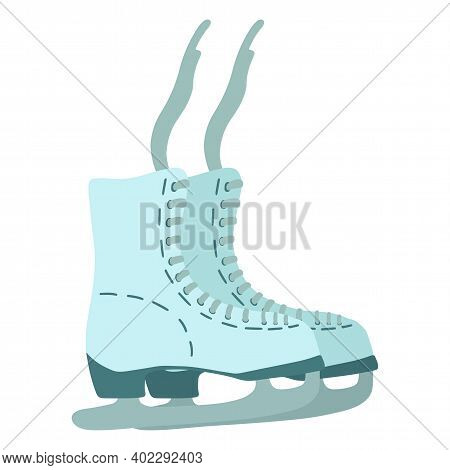 Vector Illustration Of Ice Skates For Figure Skating Or Ice Hockey. Holidays At The Skating Rink. Ch