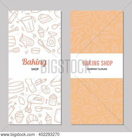 Hand Drawn Template With Baking And Cooking Tools, Mixer, Cake, Spoon, Cupcake, Scale. Doodle Sketch