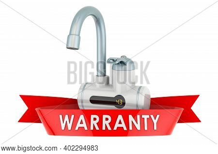 Instant Electric Hot Water Heater Warranty Concept. 3d Rendering Isolated On White Background