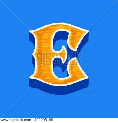 E Letter Embroidered Logo In Classic Collegiate Or Sports Style. Retro Font Perfect To Use In Any Un