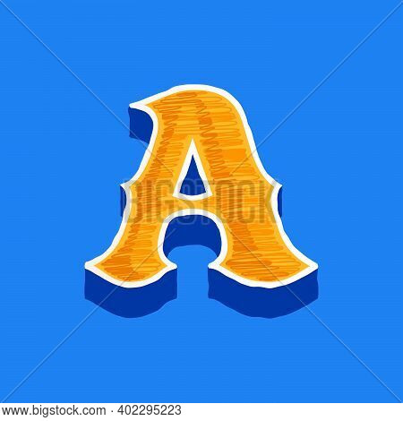 Letter A Embroidered Logo In Classic Collegiate Or Sports Style. Retro Font Perfect To Use In Any Un