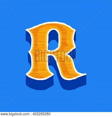 R Letter Embroidered Logo In Classic Collegiate Or Sports Style. Retro Font Perfect To Use In Any Un