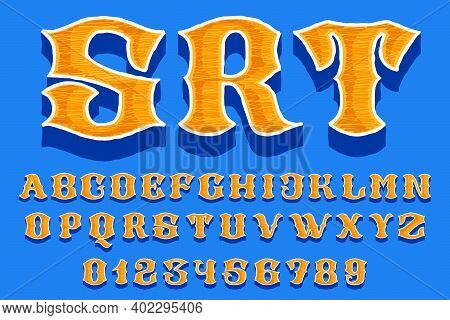 Embroidered Alphabet And Numbers Set In Classic Collegiate Or Sports Style. Retro Font Perfect To Us
