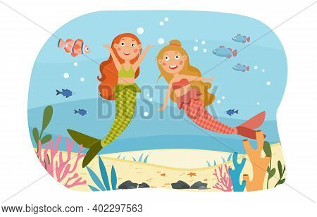 Happy Little Mythical Mermaids Under The Ocean Laughing And Chatting Amongst The Coral, Colored Cart