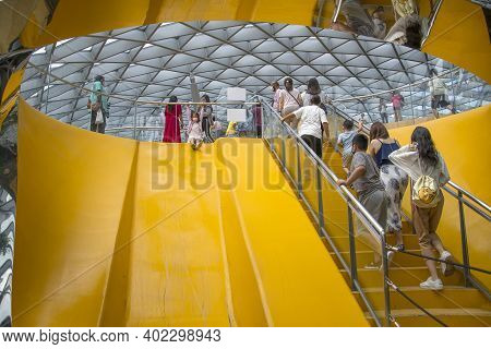 Singapore - Dec 31, 20120: Peoples Visit The Discovery Slides Inside Jewel Singapore. Discovery Slid