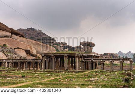 Hampi, Karnataka, India - November 5, 2013: Sri Krishna Tank In Ruins. Remains Of Hall With Sculpted