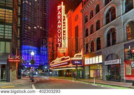 Boston, Massachusetts - Nov 27, 2020: The Paramount Theater, Along Washington Street In Boston, Mass