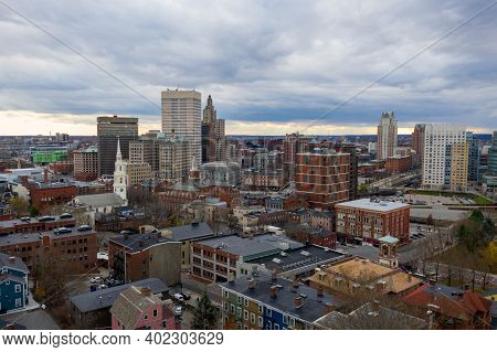 Aerial Panorama Of Providence Skyline On A Late Afternoon. Providence Is The Capital City Of The U.s