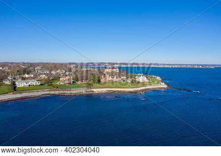 Newport, Rhode Island - Nov 29, 2020: Aerial View Of The Rocky Coast And Cliffwalk Of Newport, Rhode