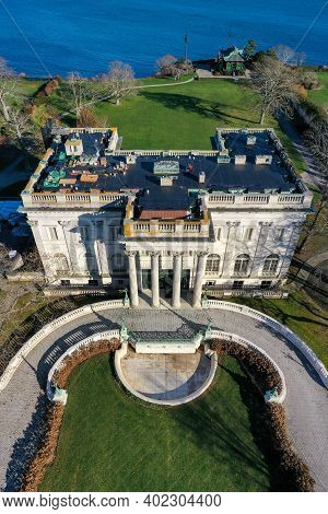 Newport, Rhode Island - Nov 29, 2020: Marble House Is A Gilded Age Mansion With Beaux Arts Style In