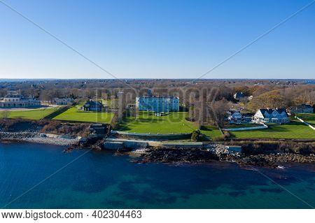 Newport, Rhode Island - Nov 29, 2020: Exterior View Of Historic Rosecliff Mansion In Newport, Rhode