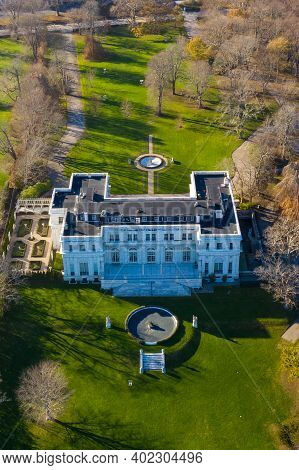 Exterior View Of Historic Rosecliff Mansion In Newport, Rhode Island.