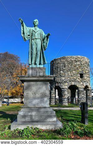 Newport Tower And Channing Statue, Tauro Park, Newport Rhode Island Usa.