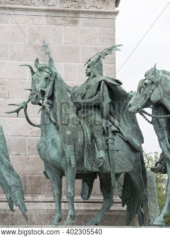 Budapest, Hungary- May, 27, 2019: One Of The Seven Chieftains Of The Magyars Statues At Heroes Squar