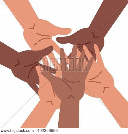 Hands Of A Diverse Group Of People Putting Together. Flat Cartoon Vector Illustration. Concept Of Co