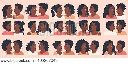 Romantic African American Couple Character Set In Flat Style. For Using The Website Or Mobile Applic