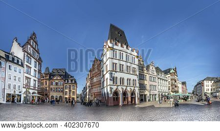 Trier, Germany - November 7, 2020: Medieval Market Cross On Central Square. Archbishop Henry I Equip