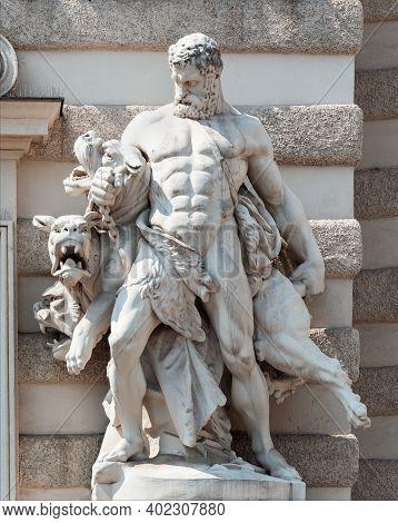 Vienna, Austria - July 31, 2019: Sculpture Of Hercules Fight With Cerberus, Hofburg Palace Complex