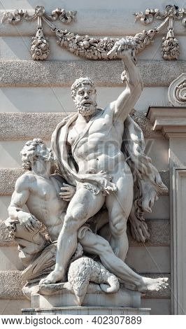 Vienna, Austria - July 31, 2019: Statue Hercules Killing The Eagle And Freeing Prometheus, Hofburg P