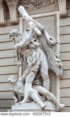 Vienna, Austria - July 31, 2019: Sculpture Of Hercules Slaying Antaeus, St. Michael's Wing Of Hofbur