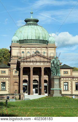 Bad Homburg, Germany - November 2, 2020: Kaiser Wilhelm Bath In Bad Homburg Under Blue Sky.