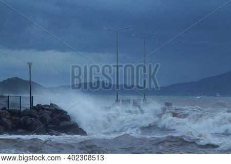 Bodrum, Turkey. 15 January  2019: Southern Windstorm In The Aegean Sea. The Waves Exceeded Over The