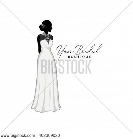 Beautiful Bridal Lace Gown, Bridal Boutique Logo, Bridesmaid Gown Logo Vector Design Template