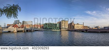 Boston, Usa - Sep 12, 2017: Panorama Of Boston Skyline With Boston Tea Party Ship And Museum, Old Wh