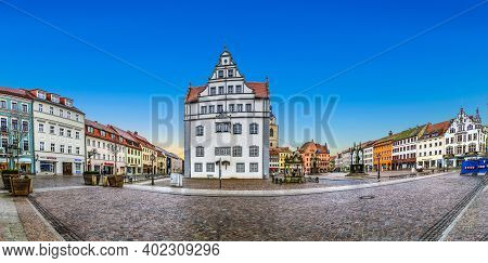 Wittenberg, Germany - Mar 25, 2016: The Main Square Of Luther City Wittenberg In Germany. Wittenberg