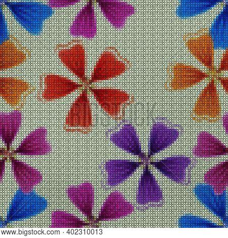 Illustration. Cross-stitch. Lavatera, Malva Flowers. Texture Of Flowers. Seamless Pattern For Contin