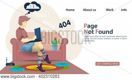 Banner, Oops 404 Error, Page Not Found Man Man Sitting On The Couch With A Laptop And His Internet D