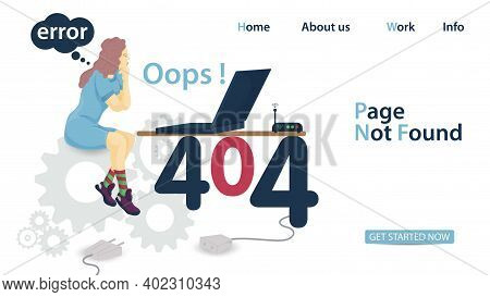 Banner, Oops 404 Error, Page Not Found, A Woman Sitting On Gears In Front Of A Laptop That Stands On