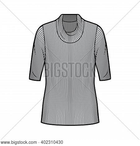 Ribbed Cowl Turtleneck Knit Sweater Technical Fashion Illustration With Elbow Sleeves, Oversized Bod