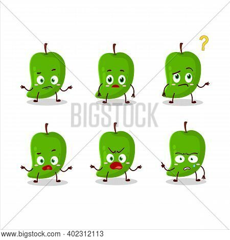 Cartoon Character Of Green Mango With What Expression