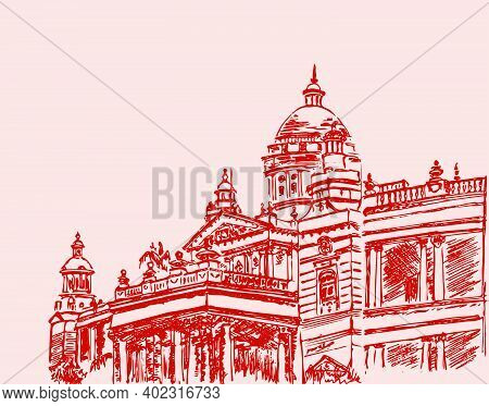 Drawing Or Sketch Of Famous Wodeyar Second Largest Palace In Mysore Lalitha Mahal Editable Outline I