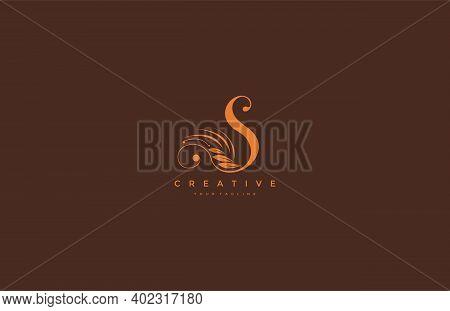 S Letter Luxury Flourishes Ornament Logogram Vector