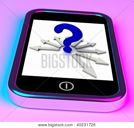 Question Mark On Smartphone Shows Mobile Questionnaire Or Uncertainty poster