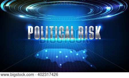Abstract Background Of Blue Futuristic Technology Hud Display Interface And Political Investment Ris