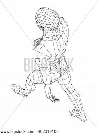 Wireframe Walking Man. Vector 3d Rendering. Man In Walking Pose