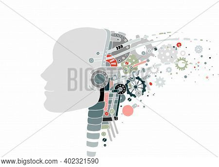 Technology Concept. Artificial Intelligence Technology And Sci-fi Technology, Blue Technology Backgr
